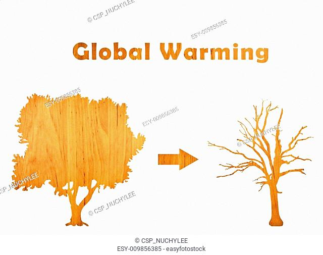 Global Warming with living and lifeless tree
