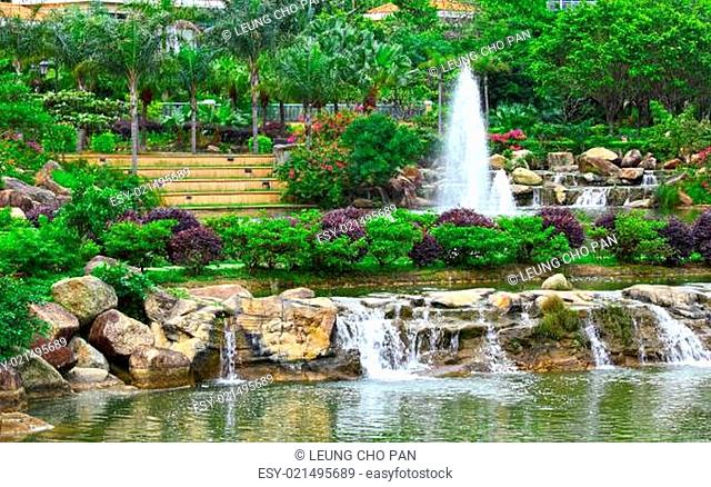 park with pond and fountain