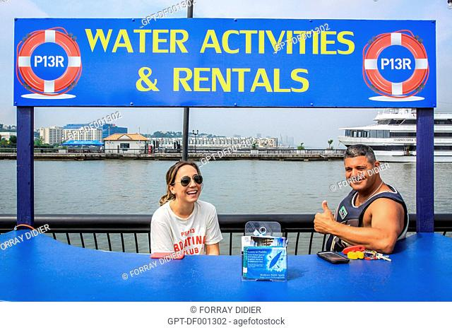 RECEPTION DESK FOR THE COMPANY JET SKI WATER ACTIVITIES AND RENTALS ON THE BANKS OF THE HUDSON RIVER, TOURISM, TOURIST ACTIVITIES, EXCURSIONS, NEW JERSEY
