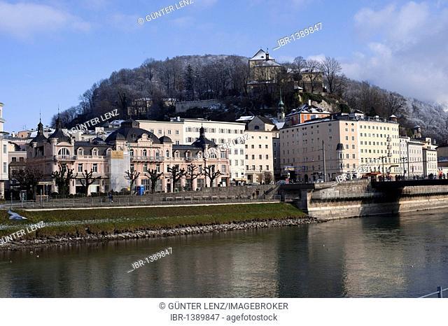 Hotel Sacher, former Austrian Court, with Salzach river, Salzburg, Austria, Europe