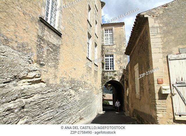 Goult village in Provence. Rocky walls detail