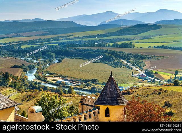 Landscape with Poprad River from Stara Lubovna Castle, Slovakia