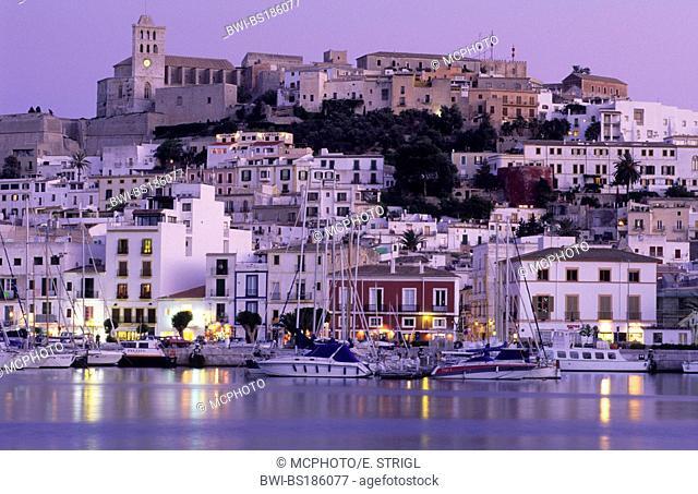 Dalt Vila, historic center of Ibiza or Eivissa in the evening light, Spain, Balearen, Ibiza