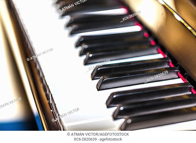 detail of classical piano keys