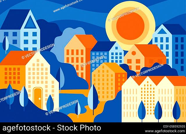 Colourful city landscape with buildings and park vector illustration. Bright composition of suburb flat style. Simple drawing of bedroom community