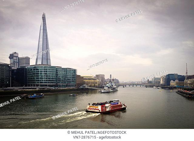 Cruising on the river Thames, London