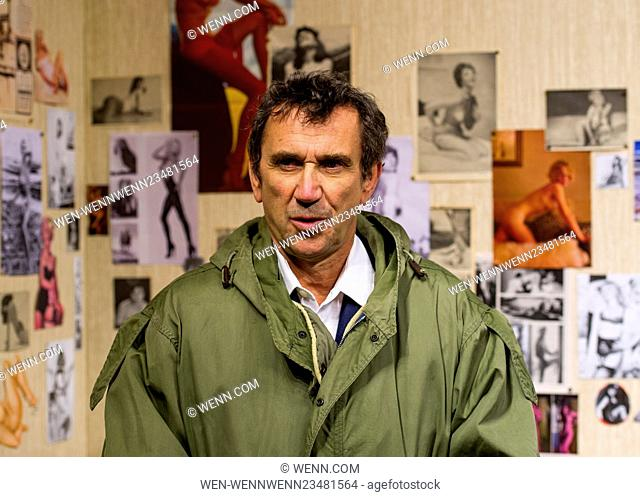 Phil Daniels, the actor who starred as Jimmy Cooper in the movie Quadrophenia poses wearing a Mod parka in a recreation of the character's bedroom in the iconic...