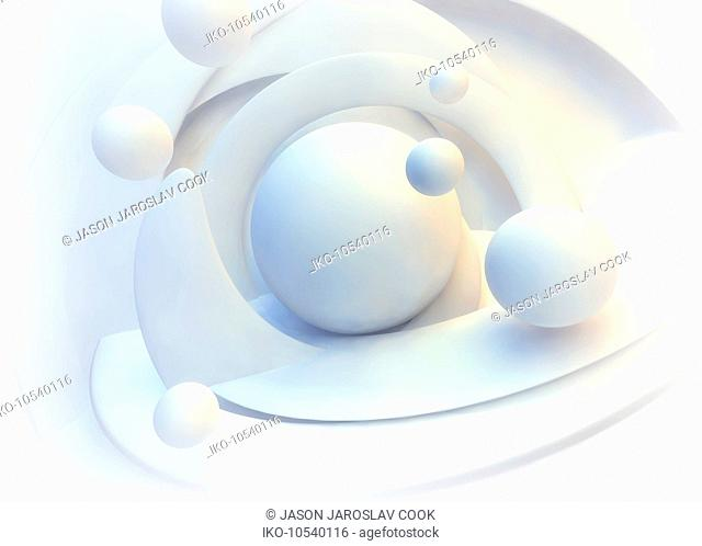 Abstract white pattern of swirling spiral and spheres