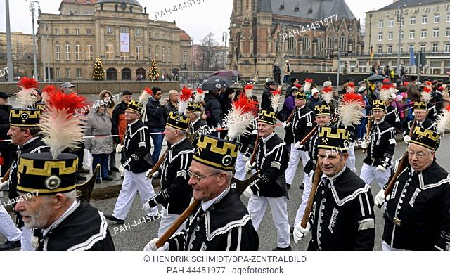 Miners from Zwickau take part in the first Miners' Parade in Chemnitz,Germany, 30 November 2013. More than 650 people in traditional costume accompanied the...
