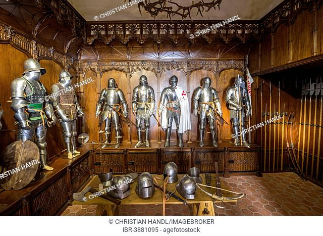 Armory at the Castillo de Belmonte castle, Belmonte, Cuenca province, region of Castile-La Mancha, Spain