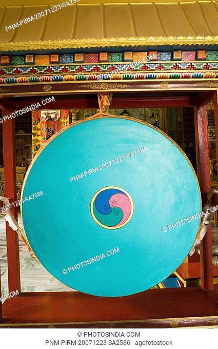 Close-up of a yin yang symbol on a gong, Tibetan Temple, Bodhgaya, Gaya, Bihar, India