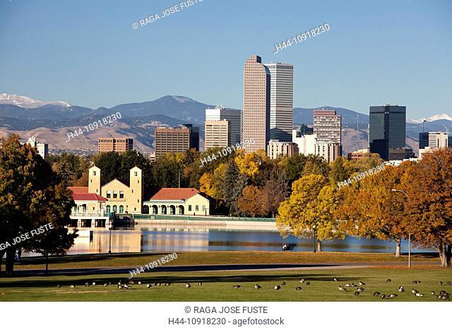USA, United States, America, Colorado, Denver, City, Park, Downtown, Skyline, Autumn, architecture, city, pond, rocky mountains, skyline