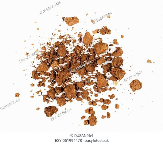 pile dry soil isolated on white background