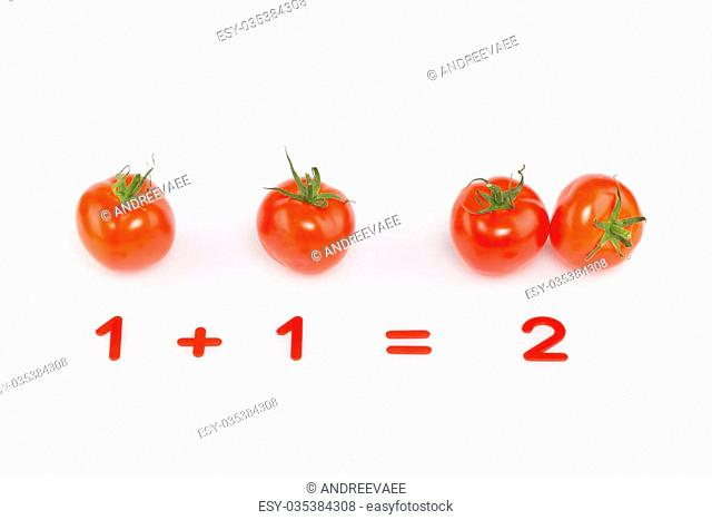 arithmetic example of tomatoes and red numbers on the addition of a white background