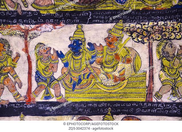 Colorful paintings on ceiling wall of the Brihadishvara Temple, Thanjavur, Tamil Nadu, India. Hindu temple dedicated to Lord Shiva