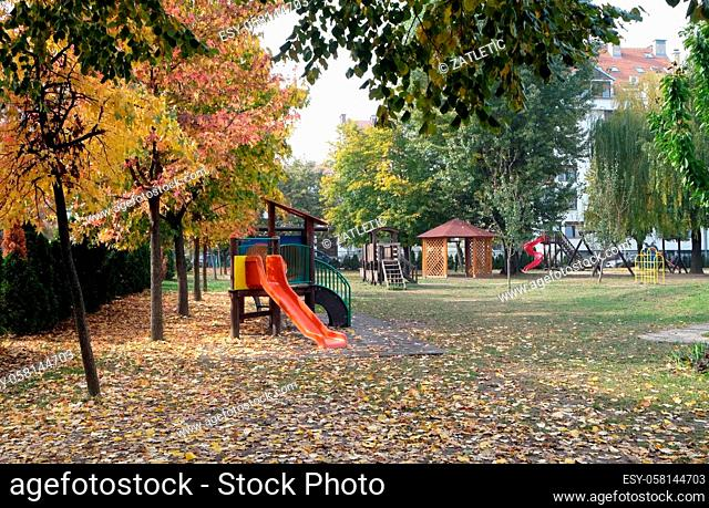 Kids playground in Malesnica residential area, Zagreb, Croatia