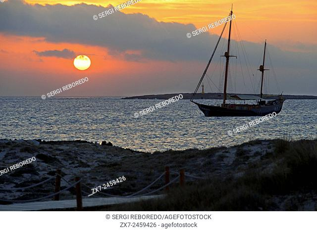 Ses Illetes Beach, Balearic Islands, Formentera, Spain. Backlights in the sunset