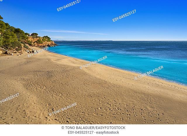 Cala Santa Fe beach playa in Miami Platja of Tarragona at costa Dorada of Catalonia