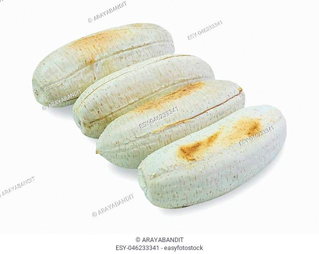 Thai Cuisine, Delicious Banana Toast or Grilled Banana Isolated on White Background. One of The Most Famous Appetizers in Thailand