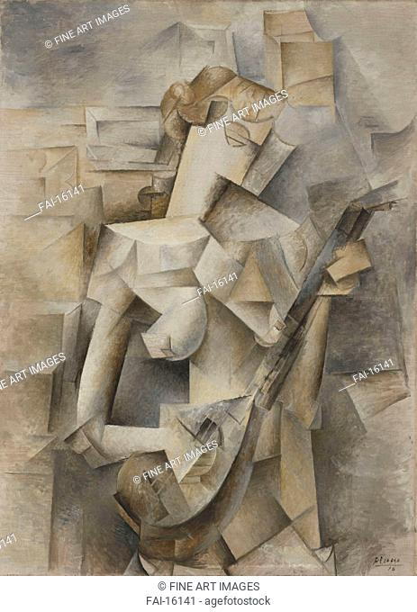 Girl with a Mandolin (Fanny Tellier). Picasso, Pablo (1881-1973). Oil on canvas. Cubism. 1910. © Museum of Modern Art, New York. 100, 3x73, 6