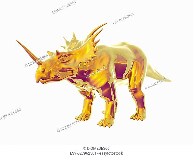 Triceratops an ancient jurassic extinct reptile of gold