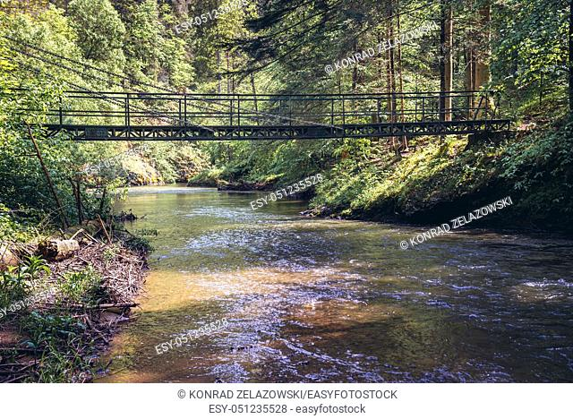 One of the bridges over Hornad River canyon, part of hiking trail called Prielom Hornadu in Slovak Paradise National Park, Slovak Ore Mountains
