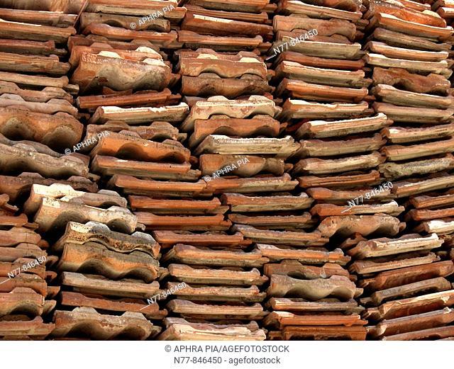 Used roof tiles, Cappadocia. Göreme, TurkeyUNESCO World Heriatge Site