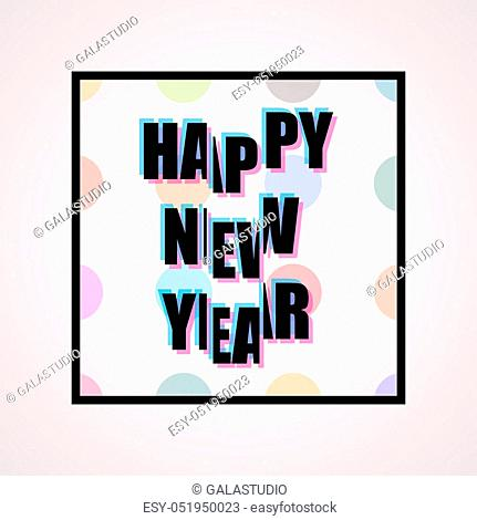 2017 Happy New Year trendy and minimalistic card or background. Modern thin line design concept. Flat