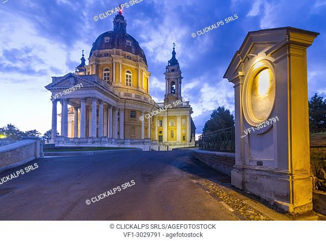 The Basilica of Superga at evening. This church is placed on a hill over the city of Turin