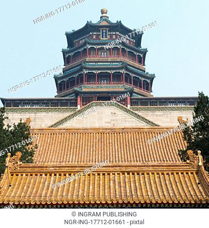 Low angle view of Tower of Buddhist Incense at Longevity Hill, Summer Palace, Haidian District, Beijing, China