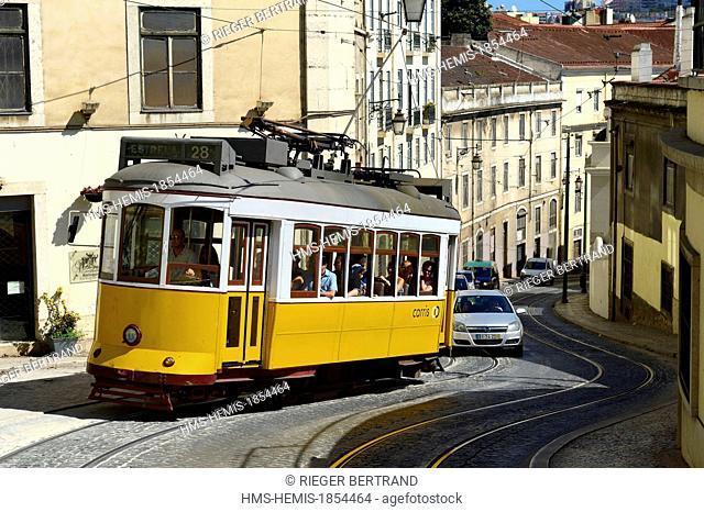 Portugal, Lisbon, Chiado district, tram (electricos) line 28 in the descent of the rua Cordon