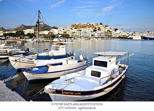 Looking across the harbour to the Old town of Naxos, Naxos island, Cyclades, Greece