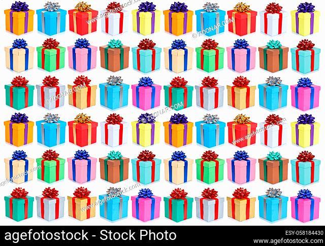 Weihnachten Geschenke Geschenk Geburtstag Hintergrund Sammlung Collage Schachteln schenken isoliert freigestellt Freisteller
