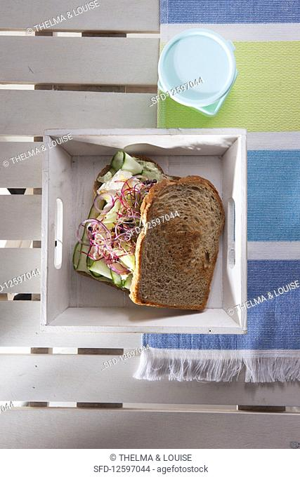 Grilled vegetable sandwich with basil mayonnaise