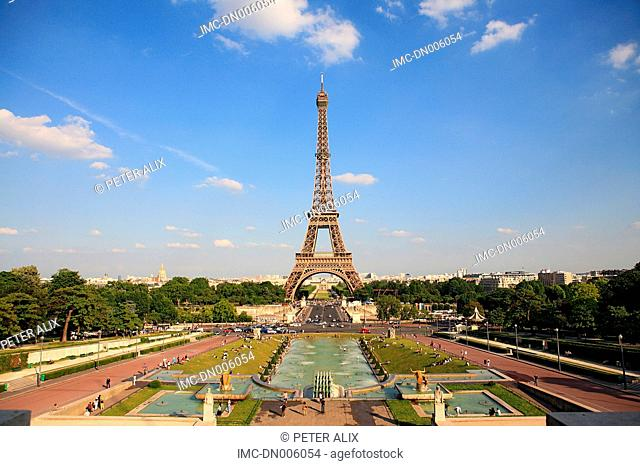 France, Paris, Eiffel tower and Trocadero square
