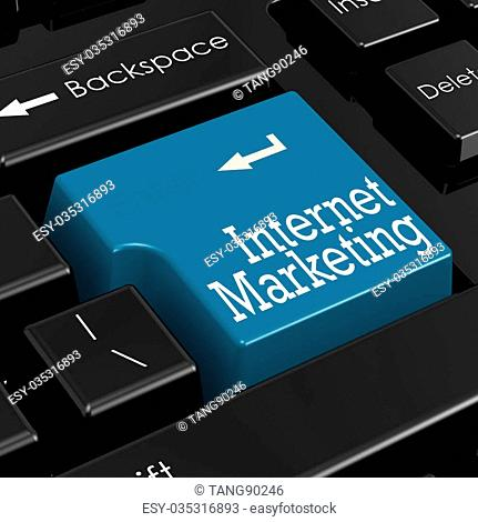 Internet marketing concept. Blue keyboard button. 3D Render