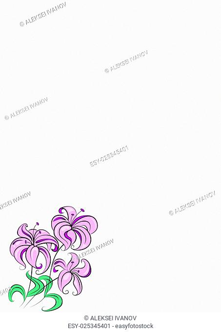 Illustration - stylized bouquet of flowers similar to lily
