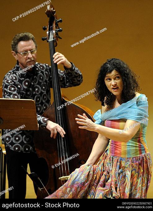 Iva Bittova and George Mraz perform in Rudolfinum Concert Hall, Prague, Czech Republic on Wednesday, Feb. 25, 2009. George Mraz