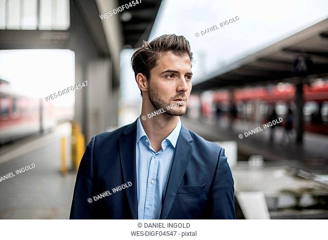 Businessman waiting at the platform