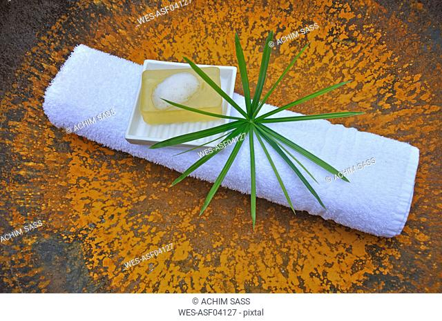 Folded towel with soap and cypress grass