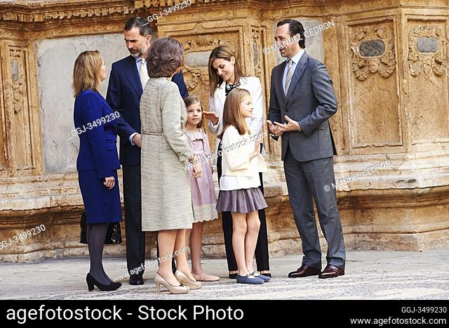 King Felipe VI of Spain, Queen Letizia of Spain, Queen Sofia of Spain, Princess Leonor and Princess Sofia attended the Easter Mass at the Cathedral of Palma de...