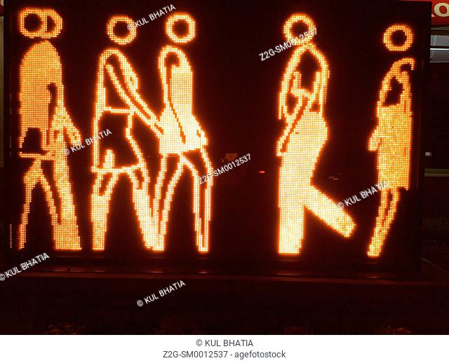 Marching people, moving lights