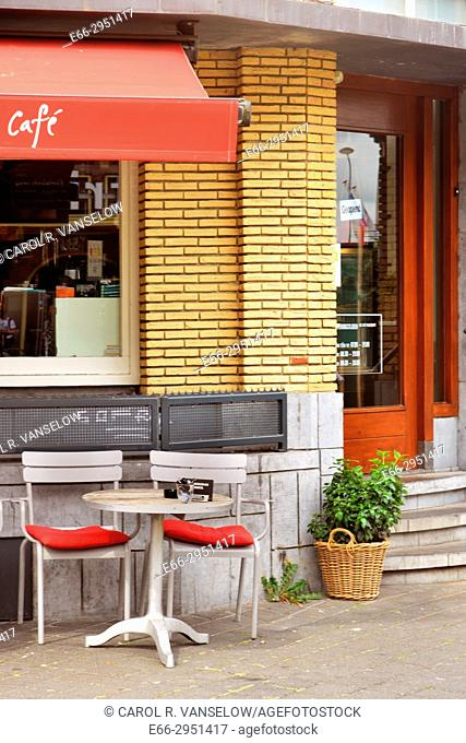 Terrace of a cafe near the main train station in Maastricht. Netherlands