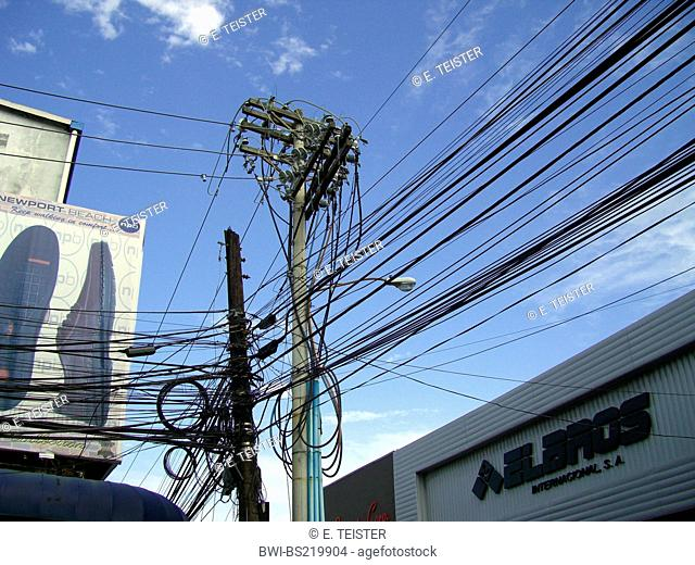 mess of electric cables and telephone wires, Panama, Colon