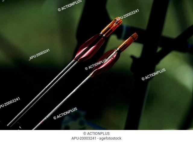 Close up of two archery arrows