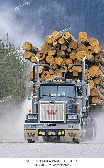 Loaded logging truck, Houston, BC, Canada