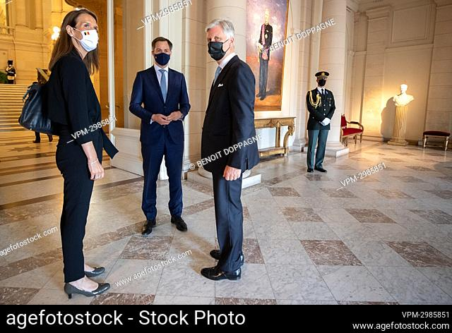 Belgian Prime Minister Sophie Wilmes, Prime Minister Alexander De Croo and King Philippe - Filip of Belgium pictured after an audience at the Royal Palace in...