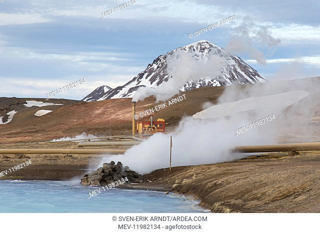 Bjarnarflag geothermal power plant - close to the Krafla Volcano and the lake M&,xfd;vatn - Iceland Bjarnarflag geothermal power plant - close to the Krafla...