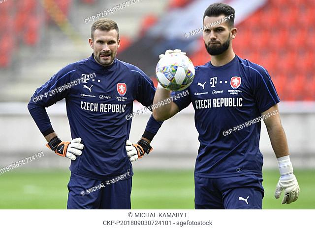 Goalkeepers Ondrej Kolar, left, and Tomas Koubek attend the training of the Czech National Soccer Team in Prague, Czech Republic, September 3, 2018