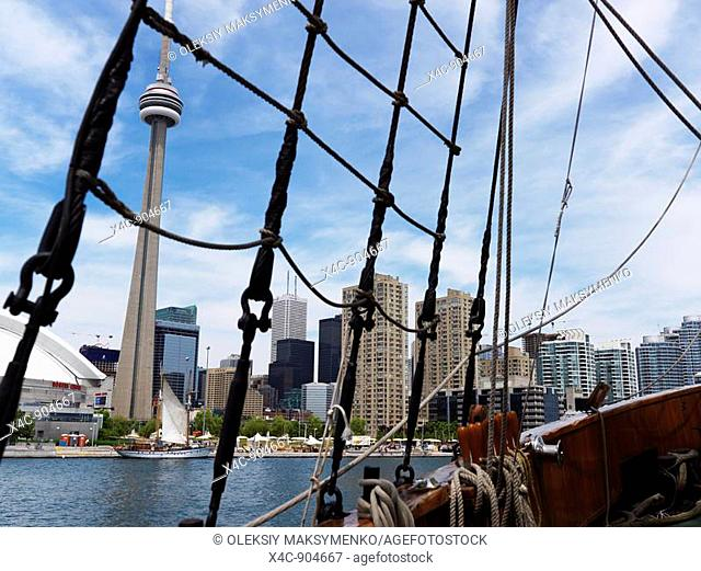 Toronto downtown waterfront skyline view from a sailing vessel  Ontario Canada